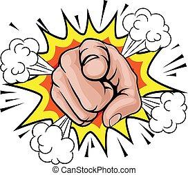 漫画, 芸術, ポンとはじけなさい, 指すこと, 手