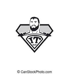 漫画, 英雄, illustration., コンピュータ, logotype., logo., 抽象的, 白, 隔離された, それ, ベクトル, 黒, 専門家, プログラマー, emblem., 極度, icon., 人