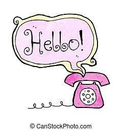 漫画, 話し, 電話