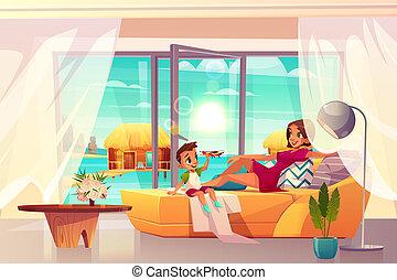 漫画, 贅沢, 休む, アパート, ホテル