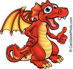 漫画, 赤, ドラゴン