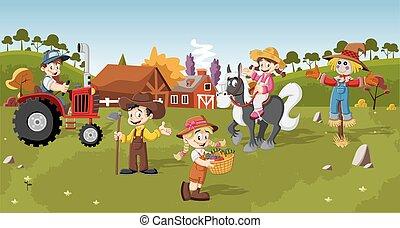 漫画, 農夫, グループ