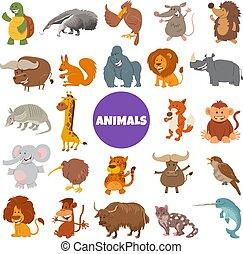 漫画, 野生, セット, 動物, 特徴, 大きい