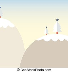 漫画, 雪, 山, クリスマスツリー