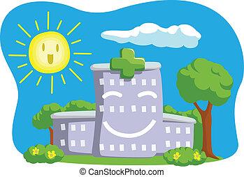 漫画, 面白い, 建物, 病院