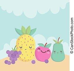 漫画, 食物, アップル, 特徴, パイナップル, ナシ, かわいい, メニュー, ブドウ