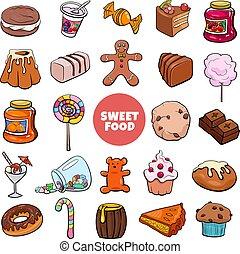 漫画, 食物, オブジェクト, キャンデー, セット, 甘い