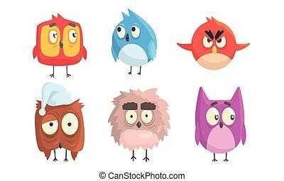 漫画, 鳥, ベクトル, illustration., 大きい, eyes.