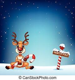 漫画, 鹿, 保有物, クリスマス