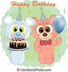 漫画, birthday, グリーティングカード, bears.