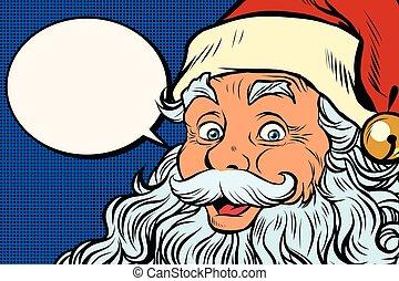 漫画, claus, 泡, 言う, santa