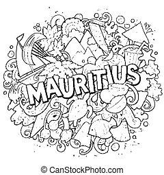 漫画, design., 面白い, 手, 引かれる, illustration., 旅行, mauritus, ...