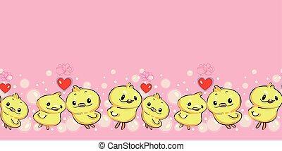 漫画, duck., ピンク, ボーダー