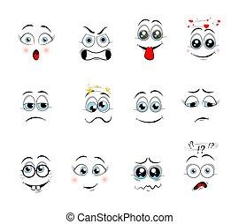 漫画, expressions., ベクトル, イラスト
