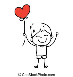 漫画, hand-drawn, 愛