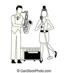 漫画, saxophonist, 歌手, 女, デザイン, 平ら