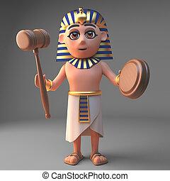 漫画, tutankhamun, イラスト, 特徴, 3d, オークション, 小槌, 保有物