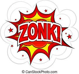 漫画, zonk!, 上に, a, 白, バックグラウンド。, ベクトル, illustration.
