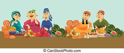 漫畫, 婦女, 賣主, 在, 食物市場, 矢量, 插圖