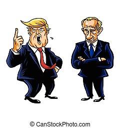 漫畫, 王牌, vladimir, putin, donald, 矢量, 總統, 俄語, 肖像, 卡通