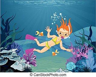 潛水者, 女孩