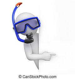 潛水者, 由于, a, 面罩