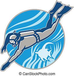 潛水者, 跳水, retro, 水下呼吸器