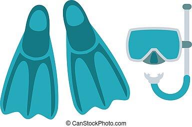 潛水面具, 水下通气管, 以及, 拖鞋, 被隔离, 在懷特上, 背景。