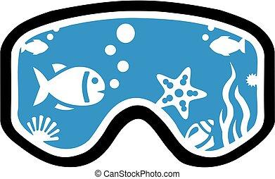 潛水面具, 由于, fish, 以及, 水下的 生活