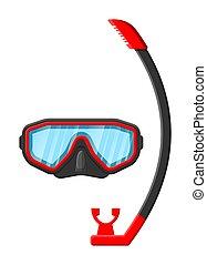 潛水面具, 由于, snorkel., 跳水, equipment.