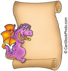 潜む, 古い, 羊皮紙, ドラゴン