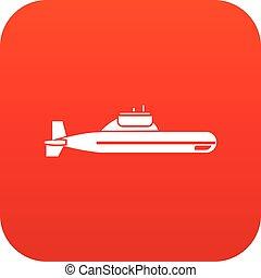 潜水艦, アイコン, 赤, デジタル