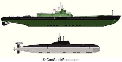 潜水艦, 戦闘, イラスト