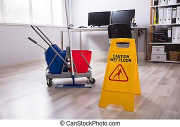 潮湿, 签署, 警告, 地板