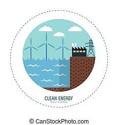 潮, エネルギー, 工場, きれいにしなさい