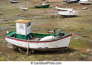 潮, ボート, bretagne, 減少しなさい, フランス