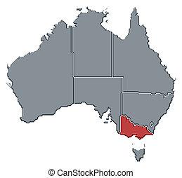澳大利亚, 地图, 突出, 维多利亚