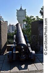 澳门, 瓷器, -, oct, 28, 2016., 大炮, 在中, mont, 要塞, 在的点, 盛大, lisboa, 建筑物。
