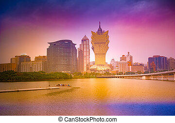澳门, cityscape, 地平线, 在, dusk., mocau, 现在, 是, 的部分, china., 全景