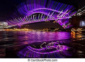 激しく打つ, -, シドニー 港 橋, 見る, 非常に, 魅力的, 抽象的, イメージ