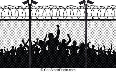 激怒させられた, 有刺鉄線, 通り, 群集, フェンス, 人々, カメラ, 柱, 噛み合いなさい, silhouette., の後ろ, ベクトル, バー。, ワイヤー