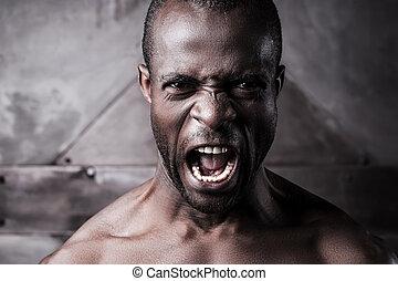 激怒している, そして, aggressive., 肖像画, の, 激怒している, 若い, shirtless, アフリカの男, 叫ぶこと, そして, カメラを見る