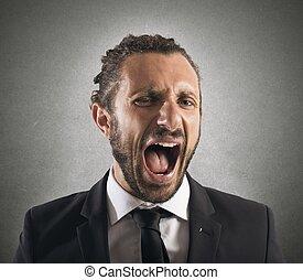 激怒している, ビジネスマン, 叫ぶこと