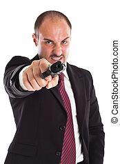 激怒している, ビジネスマン, 銃