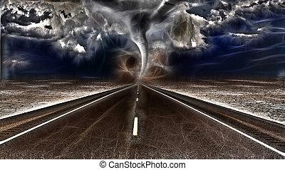 激怒している, リードする, 道, 砂漠, 嵐