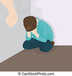 濫用, いじめ, 子供, コーナー, 暴力, 子供
