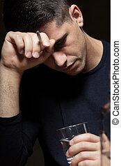 濫用, アルコール, 絶望的, 人