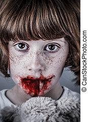 濫用, 不幸, girl., 概念, 子供, despair., 暴力