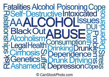 濫用, 単語, アルコール, 雲