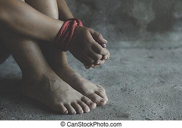 濫用, 権利, 誘拐, 結ばれた, 誘拐された, rope., violence., 男の子, 怖がらせられた, 暴力, 怖がっている, 止まれ, 人間, 子供, 概念